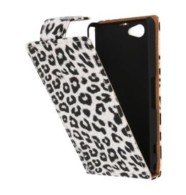Luipaard Classic Flip Case Hoes voor Sony Xperia Z1 Compact Wit