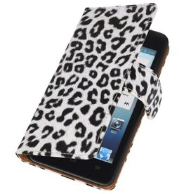 Luipaard Bookstyle Case Hoes voor Huwaei Ascend G510 Wit
