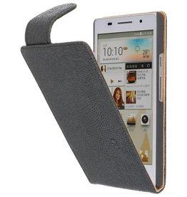 Devil Classic Flip Hoes voor Huawei Ascend P6 Zwart