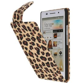 Luipaard Classic Flip Case Hoes voor Huawei Ascend P6 Chita