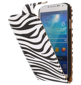 Zebra Classic Flipcase Hoes voor Galaxy S4 i9500 Wit