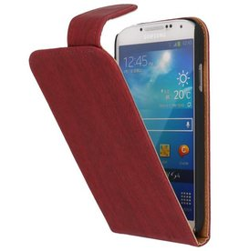 Wood Classic Flip Hoes voor Galaxy S4 i9500 Rood