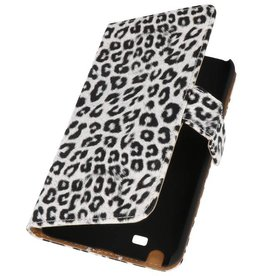 Luipaard Bookstyle Hoes voor Galaxy Note i9220 N7000 Wit