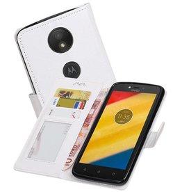 Moto C Plus Portemonnee hoesje booktype wallet case Wit