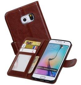 Galaxy S6 Edge Portemonnee hoesje booktype wallet case Bruin