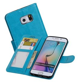 Galaxy S6 Edge Portemonnee hoesje booktype wallet Turquoise