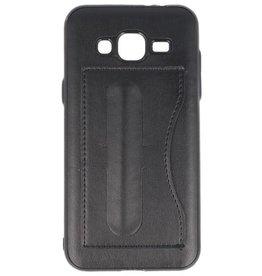 Standing TPU Wallet Case voor Galaxy J3 / J3 2016 Zwart