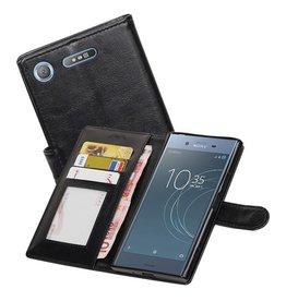 Xperia XZ1 Portemonnee hoesje booktype Wallet case Zwart
