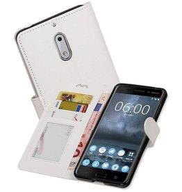 Nokia 6 Portemonnee hoesje booktype wallet case Wit