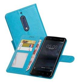 Nokia 5 Portemonnee hoesje booktype wallet case Turquoise