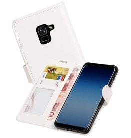 Galaxy A8 2018 Portemonnee hoesje booktype wallet case Wit