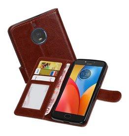 Moto E4 Portemonnee hoesje booktype wallet case Bruin