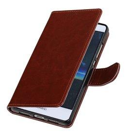 Huawei P9 Lite mini Portemonnee hoesje wallet case Bruin