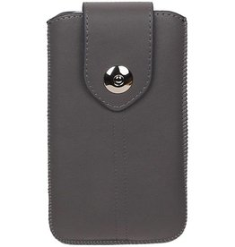 Luxe Smartphone Pouch Maat M ( Galaxy S4 i9500 )  Grijs