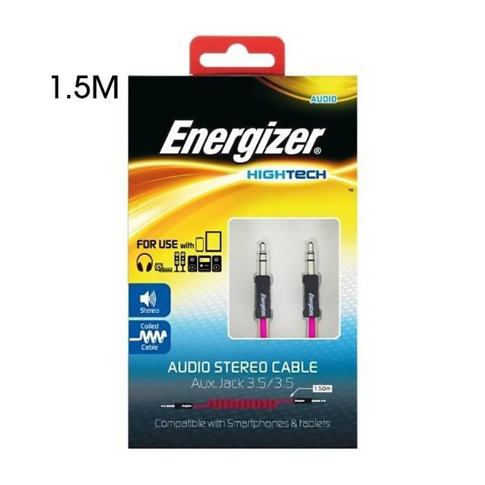 Energizer Pocket Jack Coilded Aux Cable Pink