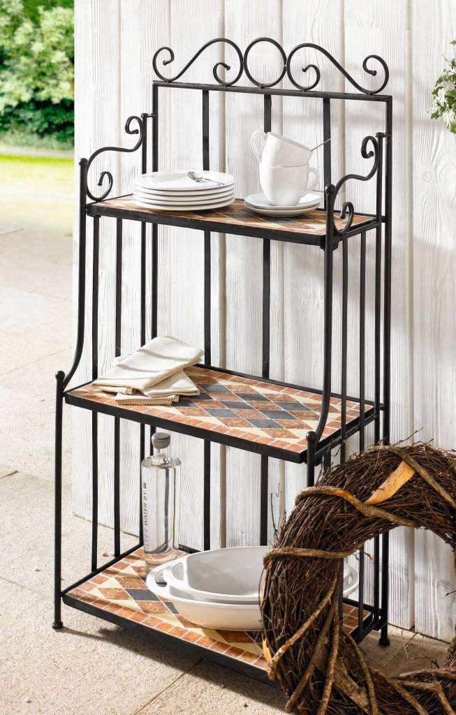 mediterranes stand regal metall steinmosaik 115 cm hoch. Black Bedroom Furniture Sets. Home Design Ideas