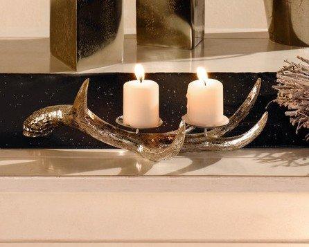 kerzenhalter geweih mit silberschattierung wohnambiente shop. Black Bedroom Furniture Sets. Home Design Ideas