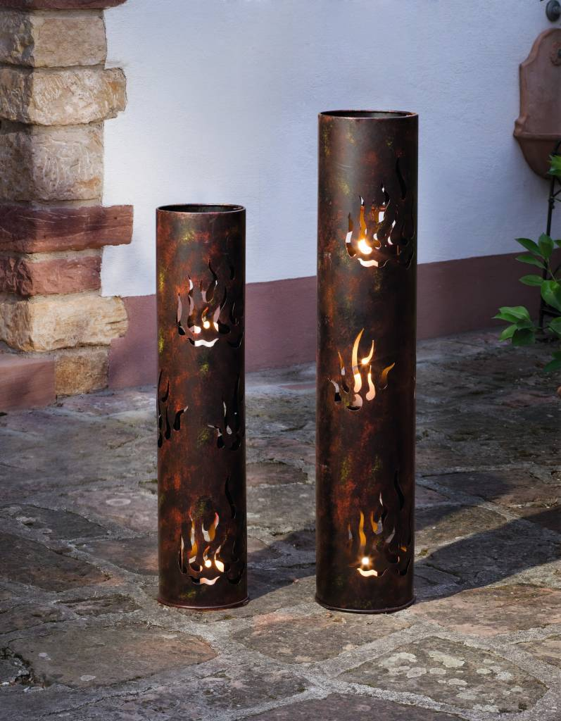 Gro e windlicht s ulen 2er set 80 u 99 cm metalls ule lichters ule feuerschale ebay - Metallsaule garten ...