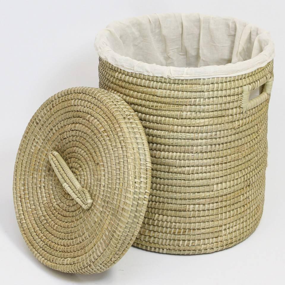 Wäschekorb mit Deckel und Wäschesack, Seegras - rund 45 x 55 cm ...