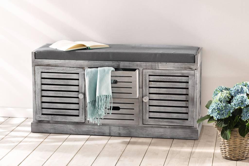 sitzkommode washed grey 102 x 37 x 50 cm wohnambiente shop. Black Bedroom Furniture Sets. Home Design Ideas
