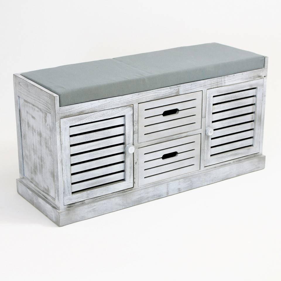 "sitzkommode ""washed grey"" 102 x 37 x 50 cm - wohnambiente-shop"