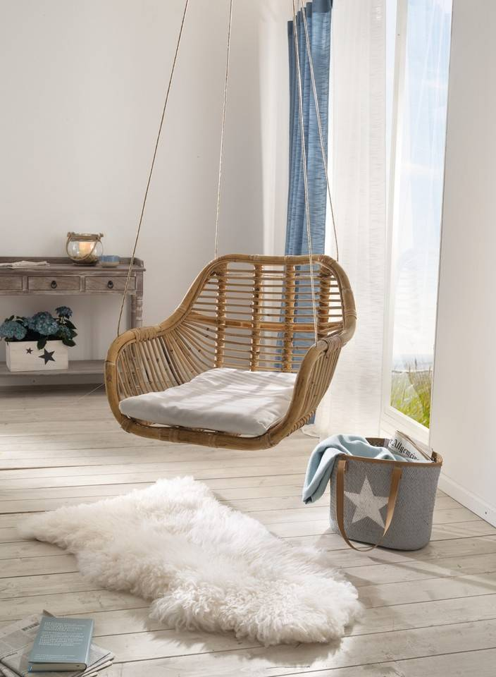 rattan h ngesessel inkl sitzkissen wohnambiente shop. Black Bedroom Furniture Sets. Home Design Ideas