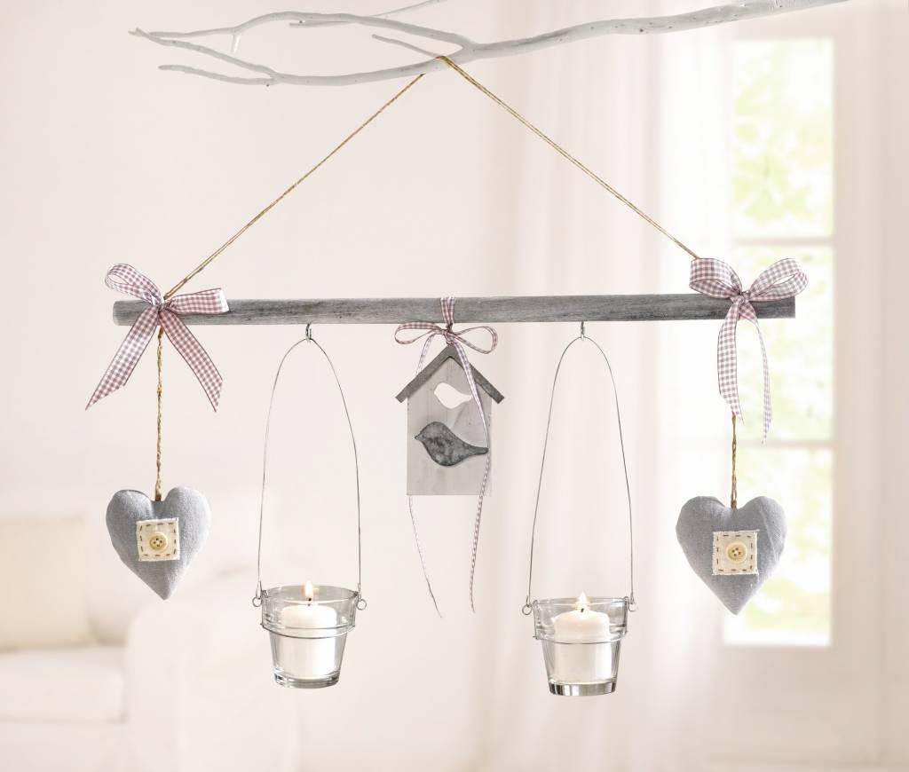 h nge deko vogel mit 2 windlichtern wohnambiente shop. Black Bedroom Furniture Sets. Home Design Ideas