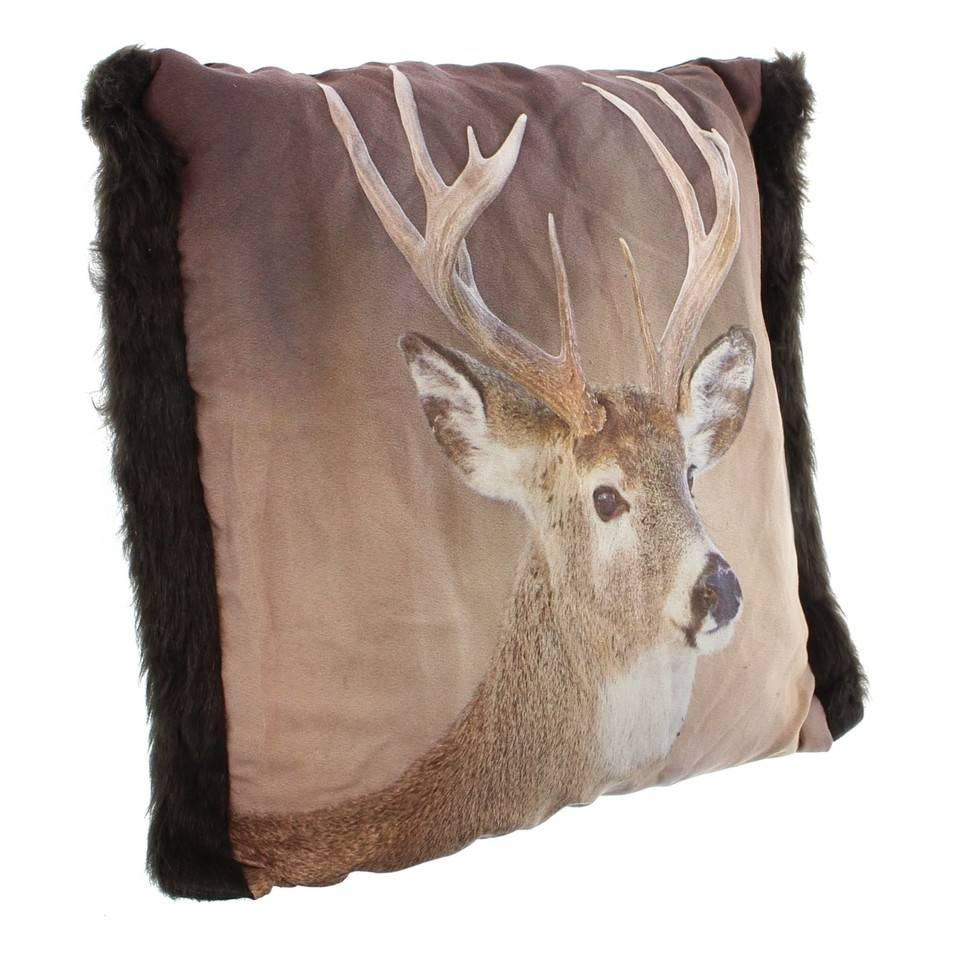 kissen hirsch 45 x 45 cm mit seitlichen kunstfellbesatz wohnambiente shop. Black Bedroom Furniture Sets. Home Design Ideas