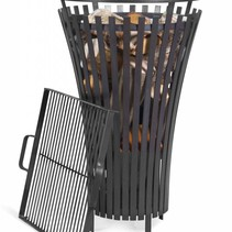 Vuurkorf Flame + grillrooster black steel