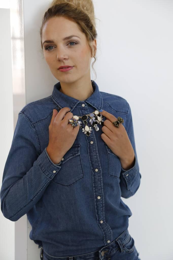 Vintage statement ring met blauwe strass stenen - MessyBun ®