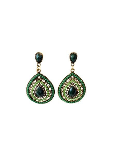 Elegant green teardrop statement earrings