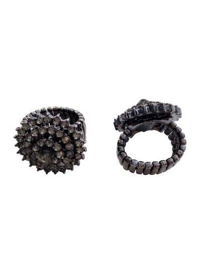 Chique statement ring met zwarte strass stenen