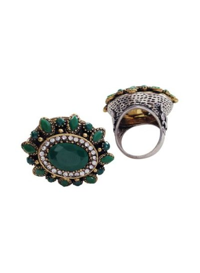 Bohemian statement ring with green rhinestones