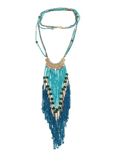 Long turquoise bohemian chic statement necklace