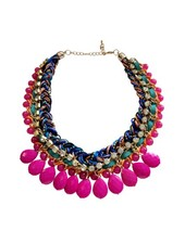 Braided pink bohemian statement necklace
