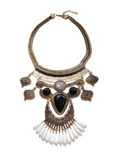 Gold plated vintage bohemian statement necklace with pearls