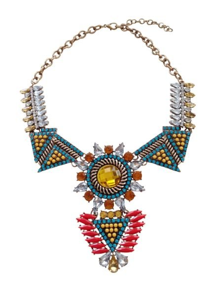 Edgy statement necklace with colored rhinestones