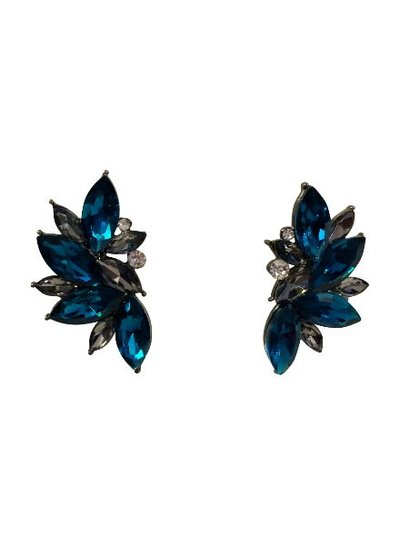 Blue urban rock chique statement earrings