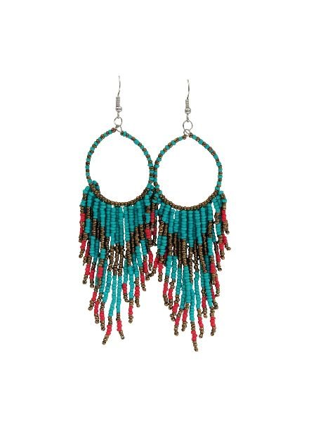 Long turquoise boho chique statement earrings