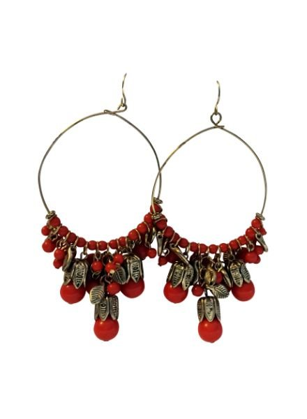 Round Fiesta statement earrings with drops