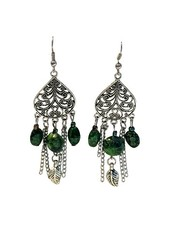 Long vintage bohemian statement earrings with green accents