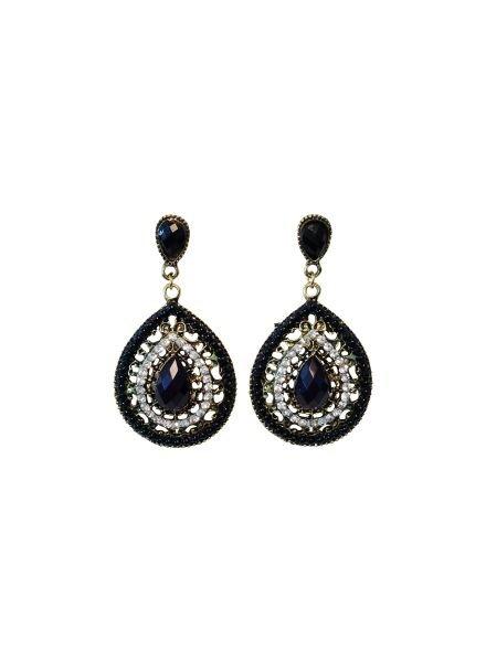 Elegant black teardrop statement earrings