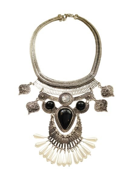 Silver plated vintage bohemian statement necklace with pearls