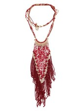 Long red bohemian chic statement necklace