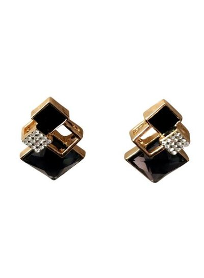 Edgy gold colored urban rock statement earrings