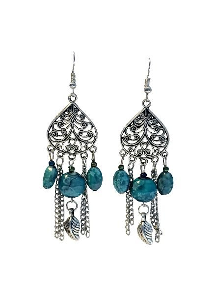 Long vintage bohemian statement earrings with turquoise accents