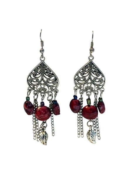 Long vintage bohemian statement earrings with red accents