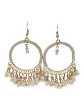 White Ibiza style statement hoop earrings