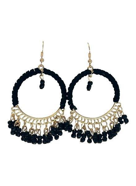 Black Ibiza style statement hoop earrings