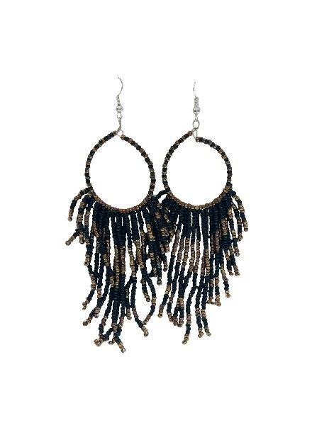 Long black boho chique statement earrings